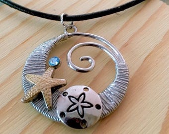 Beach Jewelry, Ocean Wave Necklace, Starfish Sand Dollar Necklace, Beachy, Sea Beach Gift, Nautical, Beach Themed Gift, Gift for her