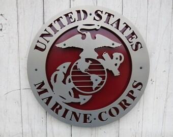 "United States Marine Corps (USMC) Metal Sign - 15"" x 15"""