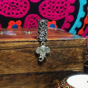 Gemstone 1 Dreadlock Bead featuring Celtic Charm and your choice of Stone Filigree Silver Toned Metal 8mm Hole Size Crystal