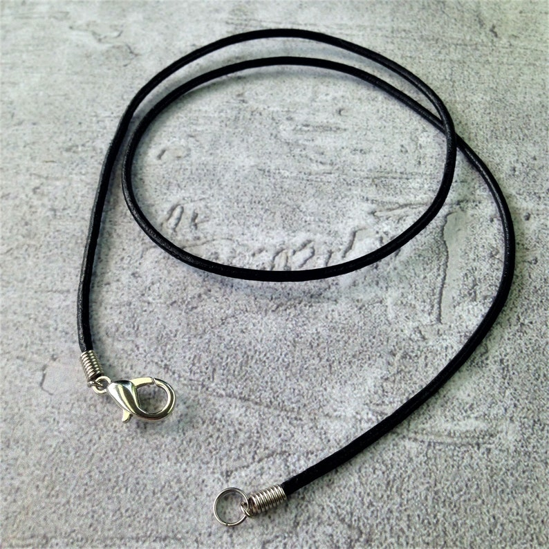 30 18 One or Set of Five 16 14 1.5mm Black Round Leather Cord Necklace with Silver lobster Clasp 24 27 15