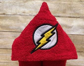 Flash Red Superhero Hooded Bath Towel