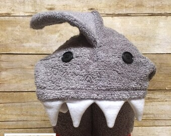 Shark Hooded Towel ~ Shark Birthday ~ Jaws Birthday ~ Boy Birthday ~ Pool Towel ~ Bath Towel ~ Beach Towel ~ Shark Week Towel