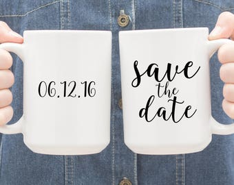 Save the Date Coffee Mug Personalized Engagement Photo Prop Coffee Lovers Couple Gift 024