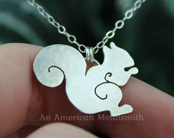 Sterling Silver Squirrel Necklace, Squirrel Jewelry, Animal Necklace, Filigree Squirrel Necklace, Sterling Squirrel Pendant, Animal Jewelry