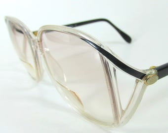 764db8ee21 Vintage 1980s Prescription Silhouette Eyeglasses Clear Black and White  accent Plastic Frame Made in Austria Big Round Eye.
