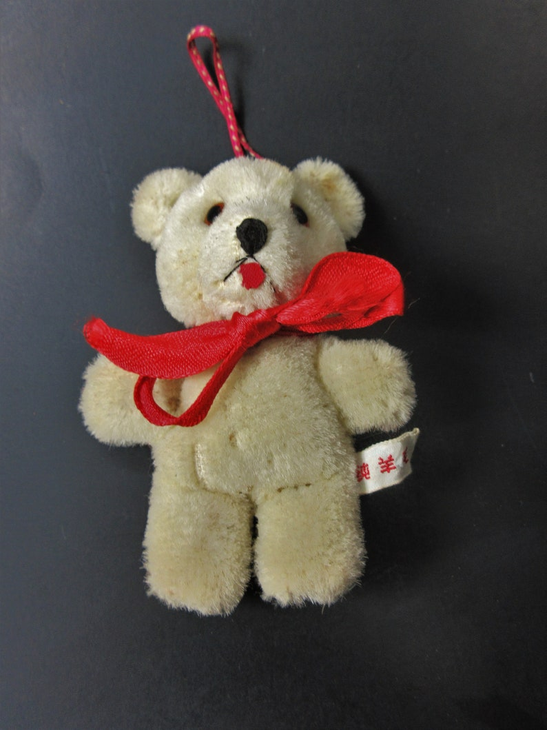 Shanghai Doll Factory Pure Wool Miniature Bear with Glass Eyes 1960s