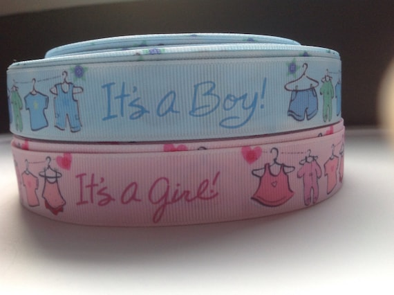 It/'s a Boy//Girl Blue//Pink Foot Prints Baby Shower Grosgrain Ribbon Cakes 1 Yard