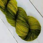 Green With Envy - Hand dyed sock yarn, superwash merino & nylon, 463 yds / 100 grams. Great for knitting, crocheting, weaving