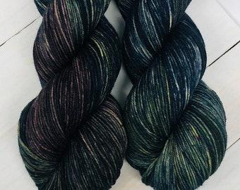 Vintage Midnight - Hand dyed superwash merino & nylon sock yarn. 434 yards. 4oz/115 grams. Great for knitting, crochet, weaving.