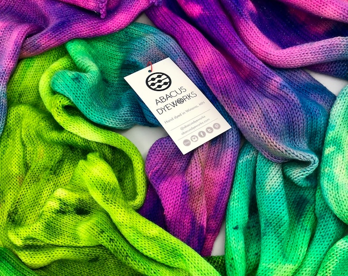 Featured listing image: Neon Haze - Hand dyed Authentic Glitter Sock Blank