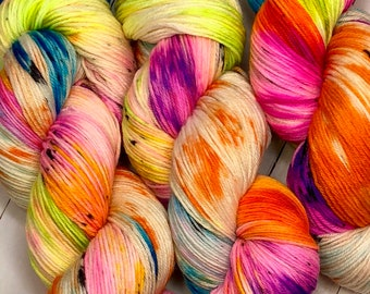 Neon Party - Hand dyed on Blissful MCN Sock