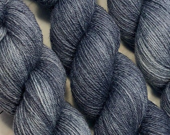 Gray is the New Black - Hand dyed on 100% BFL Sock Weight Yarn
