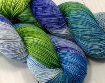 Ocean Breeze - hand dyed on Authentic Sock
