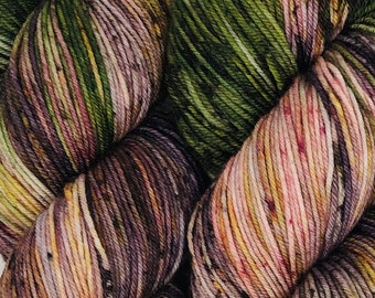 Wild Orchid - Hand dyed superwash merino & nylon sock yarn. 434 yards. 4oz/115 grams. Perfect for knitting, crochet, weaving.