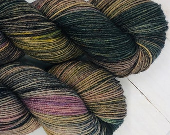 Dream State - Hand dyed superwash merino & nylon sock yarn. 434 yards. 4oz/115 grams. Great for knitting, crochet, weaving or any fiber art.