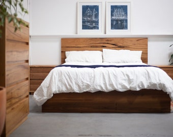Rustic Recycled Timber Panel Bed