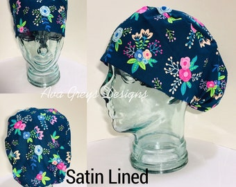 41a84c2c653 SATIN LINED-Scrub Hat- Flowers on Navy