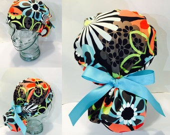 17eaafbb11a Ponytail Scrub Hat with Teal Ties- Clementine Flowers