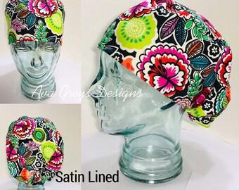 084774c049e SATIN LINED European Scrub Hat-Radiant Garden