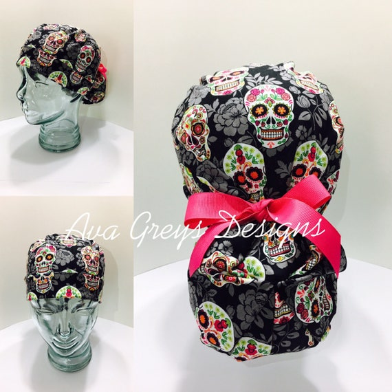 497059853ce Ponytail Surgical Scrub Hat-Sugar Skull-CHOOSE YOUR TIES Hand