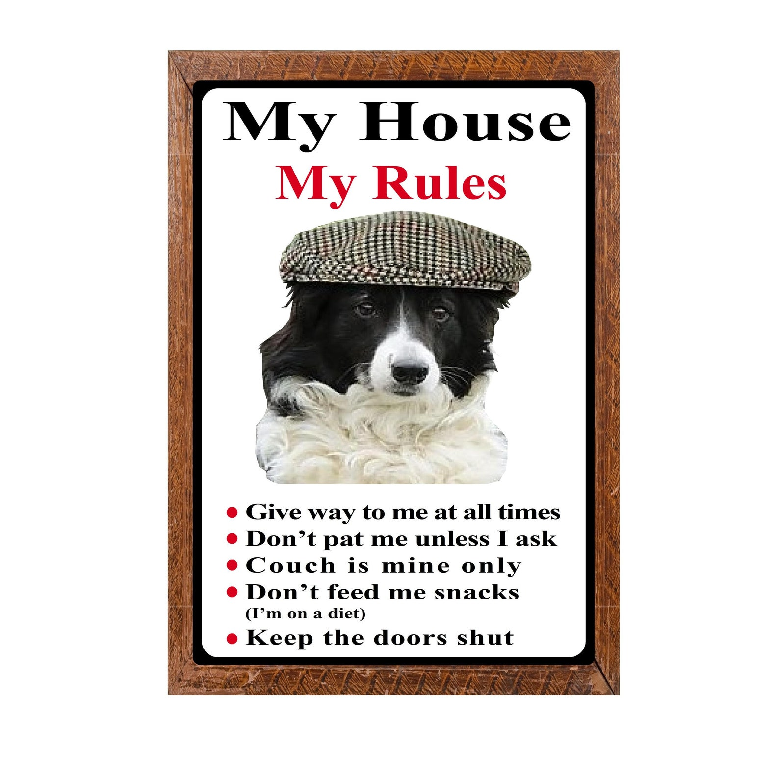 Border Collie House Rules Sign