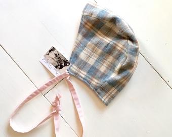 SALE|| Wool bonnet| Pale pin| Reclaimed wool| Winter Bonnet| Baby bonnet| Baby girl bonnet| Winter baby hat|