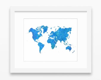 World map print etsy world map print blue print blue wall decor map print world map printable watercolor blue decor blue wall art instant download 14x11 gumiabroncs Choice Image