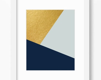 Geometric print, abstract art print, navy and gold print, gold print, minimalist print, mint wall decor, instant download, 11x14 print