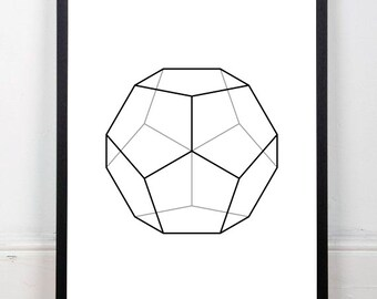 Dodecahedron printable, abstract art print, black and white print, platonic solids print, geometric drawing, sacred geometry, 18x24 print