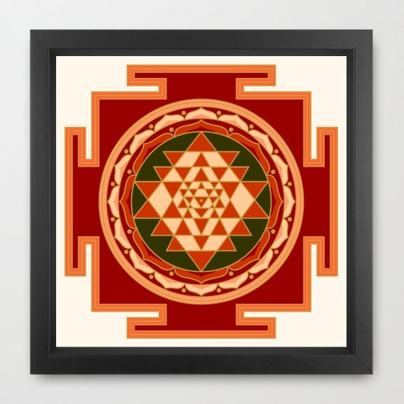 Sri Yantra print, colored shree yantra print, sacred art print, yoga print,  mandala print, yoga wall art, instant download, 18x18 print