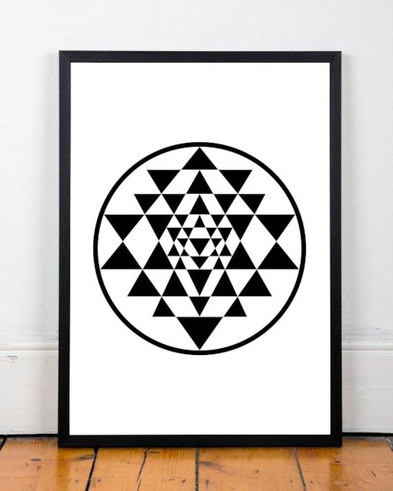 Sri Yantra print, geometric print, abstract art print, Shree yantra, black  print, triangles print, wall decor, instant download, 18x24 print