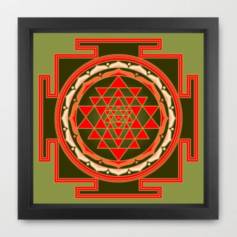 Sri Yantra print, colored shree yantra print, sacred art print, yoga print,  mandala print, yoga wall art, instant download, 18x18 print