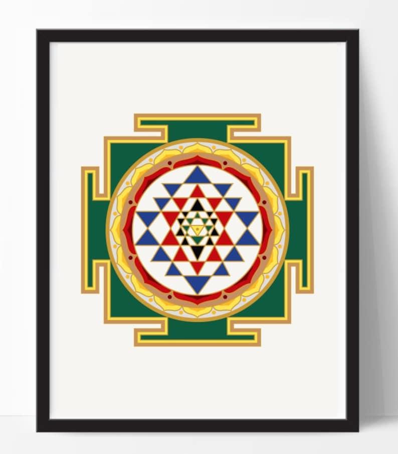 Sri Yantra print, colored shree yantra print, sacred art print, yoga print,  mandala print, yoga wall art, instant download, 24x24 print