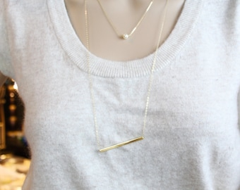 BAR Necklace,Square tube Bar necklace,Statement necklace,Bar pendant necklace,Long necklace,Bar stick necklace,long necklace,gift for her