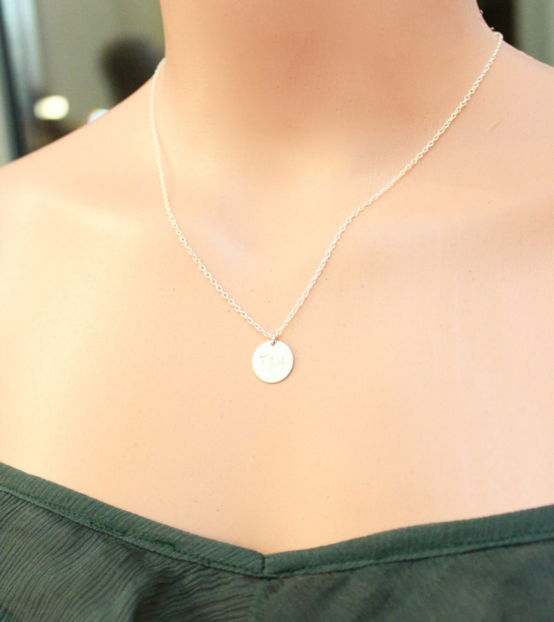 Personalized Gold Disc NecklaceInitial necklaceSilver Disc necklaceHand Stamped NecklaceInitial JewelryBridesmaid Gift BIG SALE!