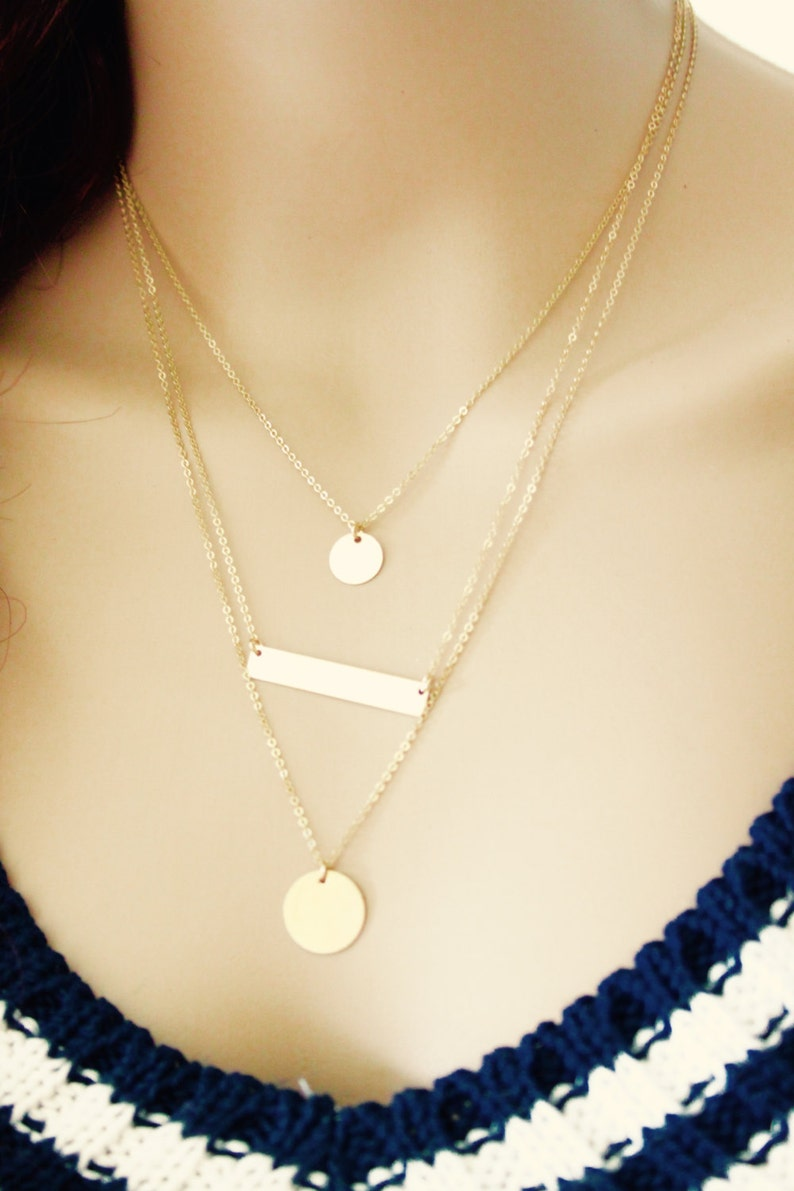 Three Gold Layering Necklace SetSimple Bar necklacegold disc necklacePersonalized Gold Initial Disc NecklaceInitial necklace BIG SALE