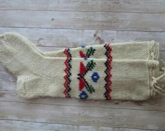 Wool Socks, Women's Socks, Handknit Socks, Embroidered Socks, Socks for women, Knitted Socks, Mens Wool Socks, Teen Socks, Christmas Gift