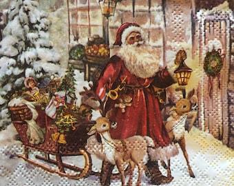 Rice Paper Decoupage Scrapbook Craft Sheet Christmas Tree Winter Santa 267