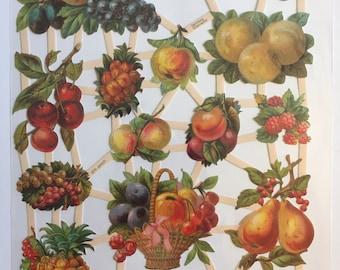 German Embossed Vintage Style Scrap Die Cut Variety of Colorful Fruit  EF7261