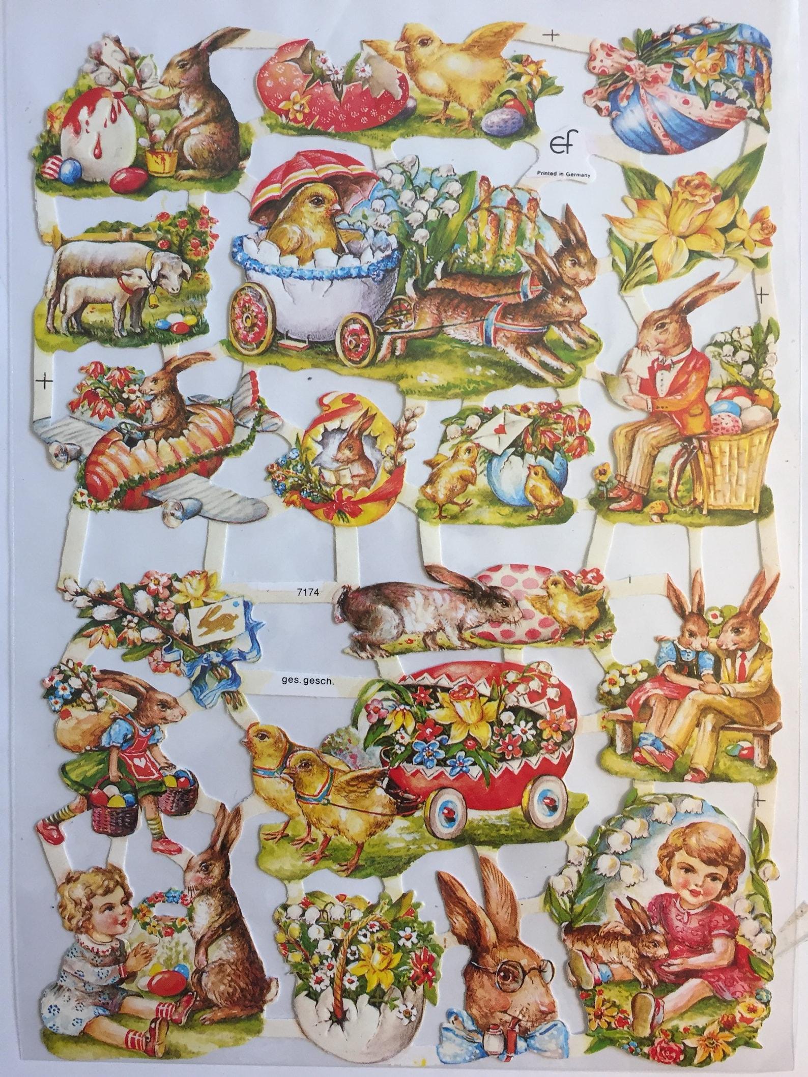 Vintage Easter Rabbits Chicks Children Glanzbilder (1 sheet) #7174 Embossed Die Cuts - Ernst Freihoff GmbH Made in Germany