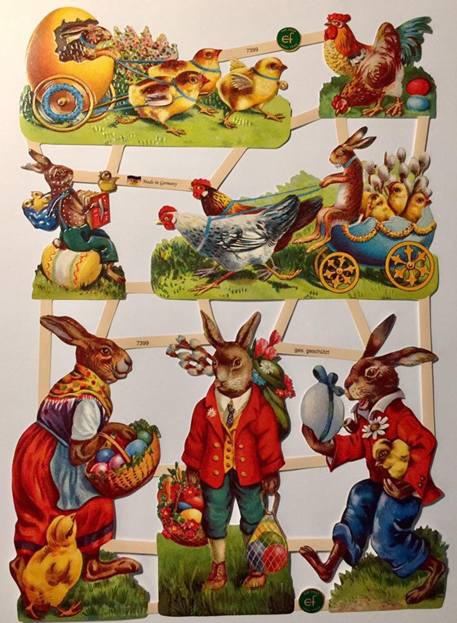 Vintage Easter Scenes Glanzbilder (1 sheet)