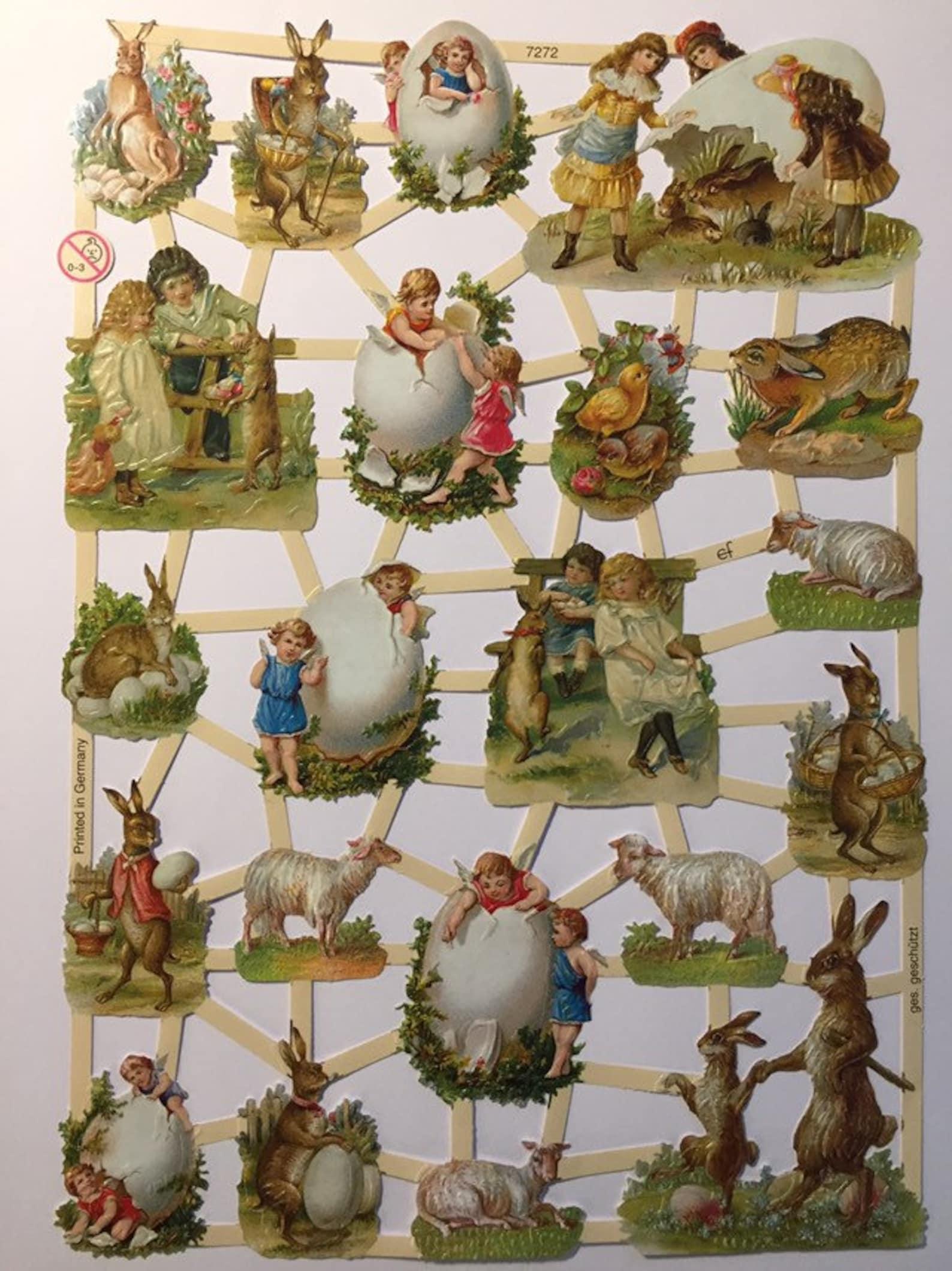 Vintage Easter Children Glanzbilder (1 sheet) #7272 Embossed Die Cuts - Ernst Freihoff GmbH Made in Germany