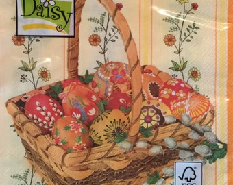 """20 Luncheon Napkins, One Package, Easter Eggs in a Basket 13""""x 13"""""""