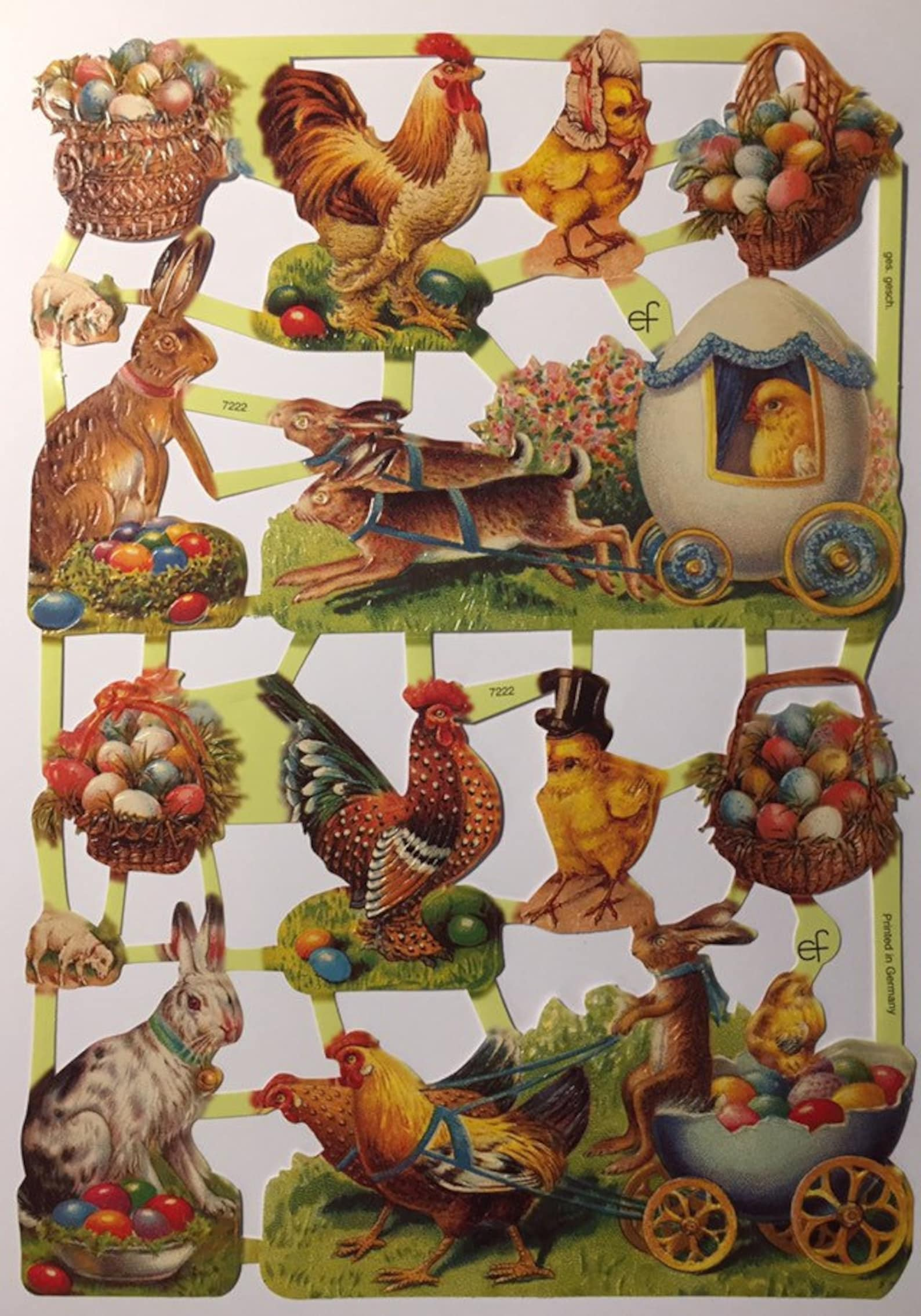 SCRAP RELIEFS Vintage Easter Glanzbilder (1 sheet) #7222 Embossed Die Cuts - Ernst Freihoff GmbH Made in Germany