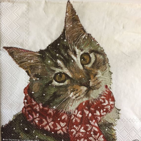 Winter Kitty Beverage Napkins
