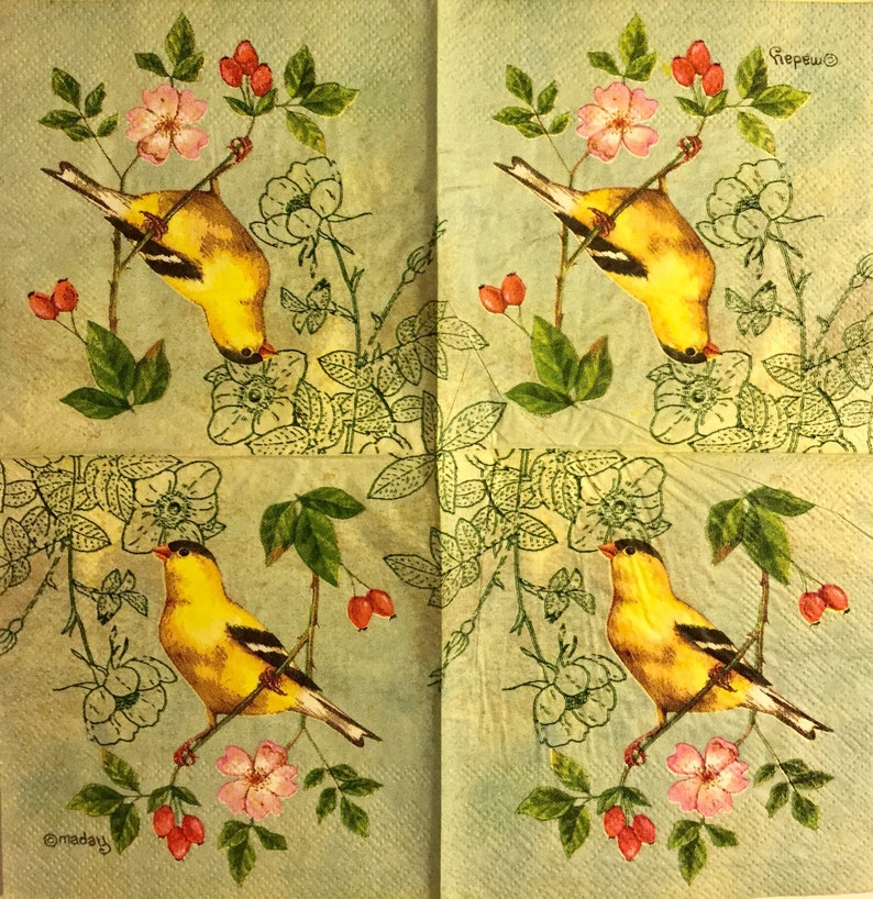 3 Decoupage Beverage Napkins Yellow Bird Green Branch 10 x 10