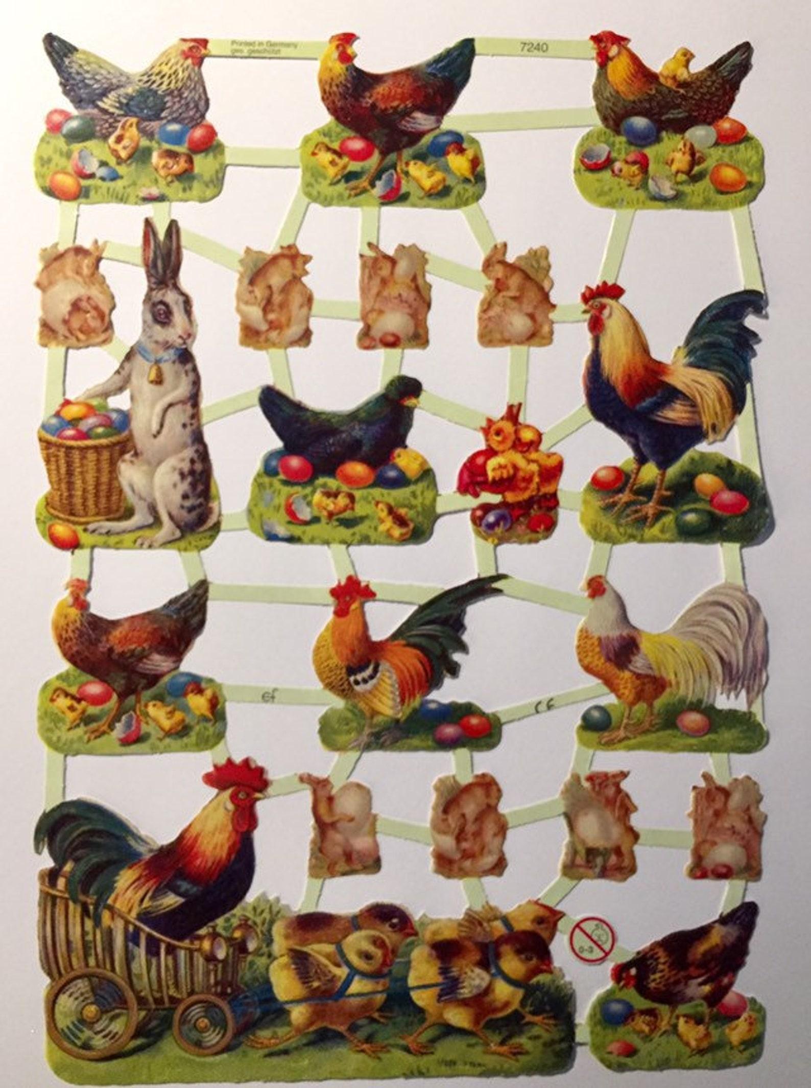 Easter Chickens Glanzbilder (1 sheet) #7240 Embossed Die Cuts - Ernst Freihoff GmbH Made in Germany