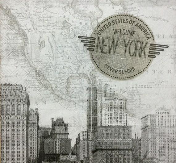 3 Decoupage Napkins New York Skyline 13 X 13 Etsy
