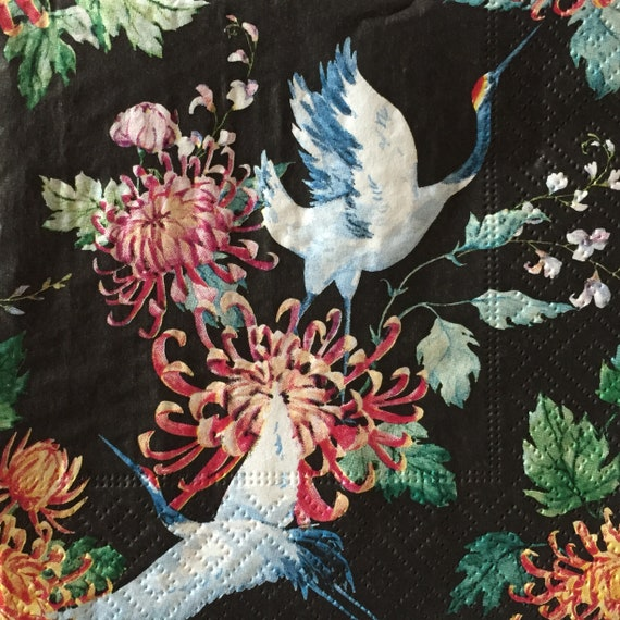 2 single Paper Napkins for DECOUPAGE Crafts Collection Party Asia Birds Flowers Patterns Black