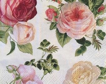 "3 Decoupage Napkins, Soft Full Blooms Roses 13"" x 13"" Unfolded"